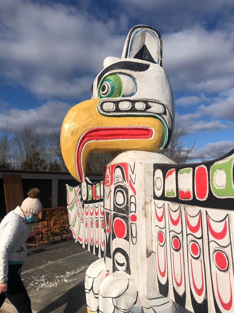 Tribal Super Tall Impressive Hand Carved and Painted Winged TOTEM Pole For Sale