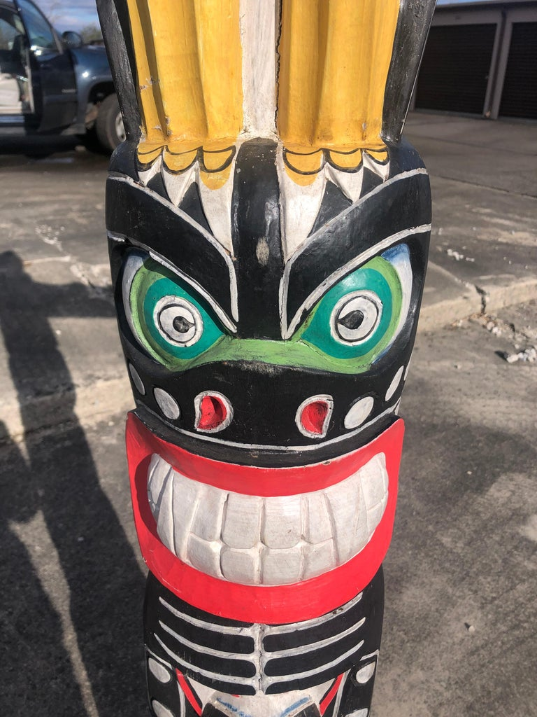 Hand-Carved Super Tall Impressive Hand Carved and Painted Winged TOTEM Pole For Sale