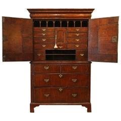 Superb 1700s Queen Anne Burr Walnut Inlaid Cupboard