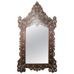 Superb 1900s Syrian Mirror Inlaid with Mother-of-Pearl and Camel Bone