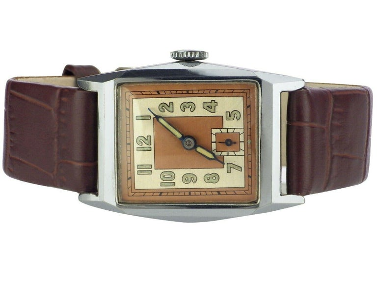 Superb 1930s Art Deco Gents Wristwatch, Newly Serviced In Excellent Condition For Sale In Westward ho, GB
