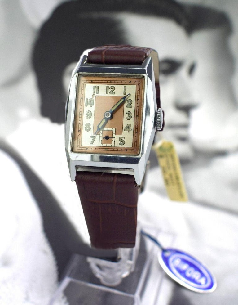 Men's Superb 1930s Art Deco Gents Wristwatch, Newly Serviced For Sale