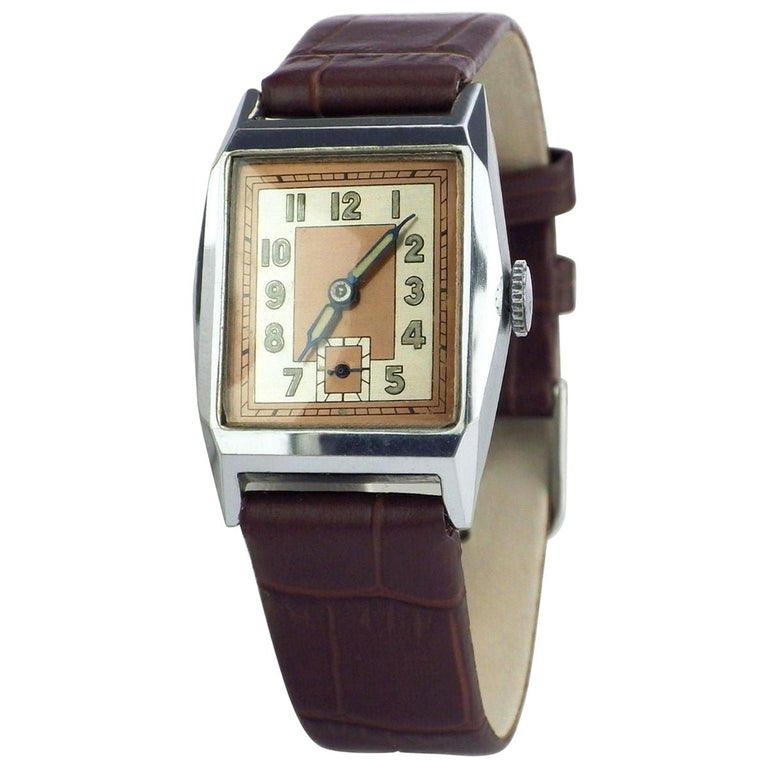 Superb 1930s Art Deco Gents Wristwatch, Newly Serviced For Sale