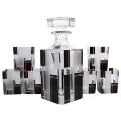 Superb 1930s Whiskey Glass Decanter Set