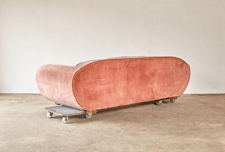 Fabric Superb 1950s Pink Sofa Attributed to Maison Gouffé, France, 1950s For Sale