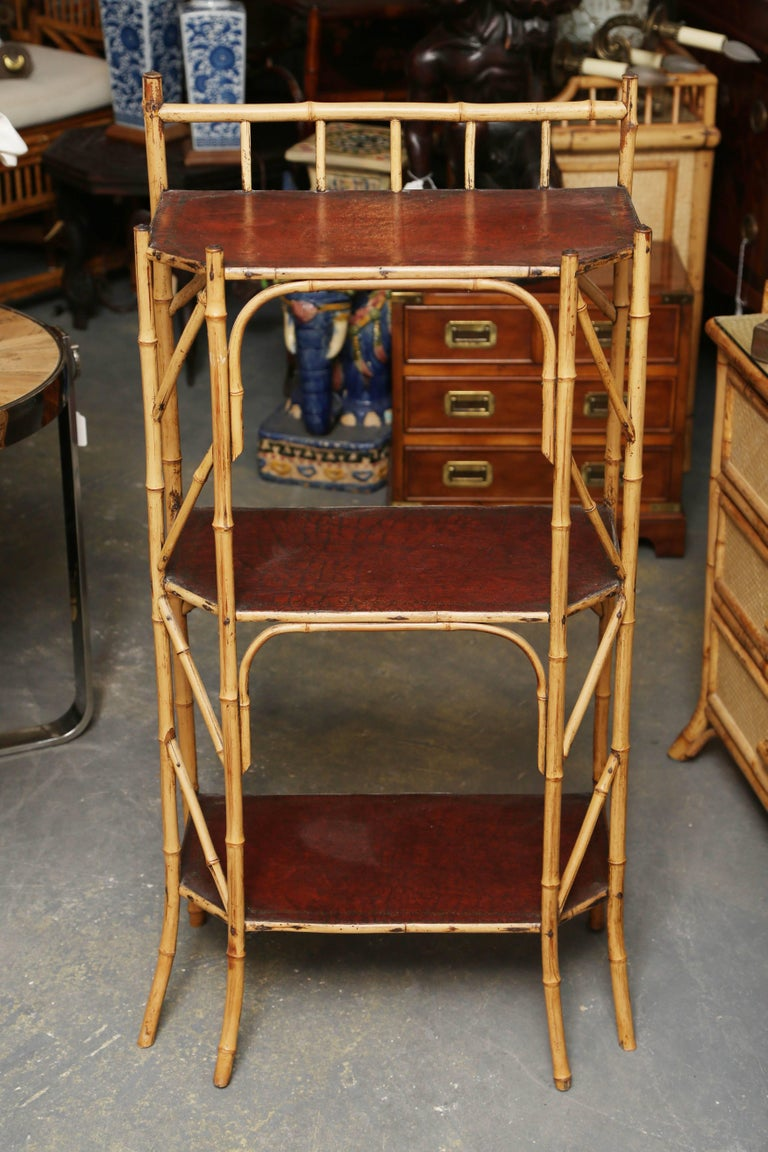 An unusual and fine Edwardian stand with delicate form and embossed leather clad shelves.