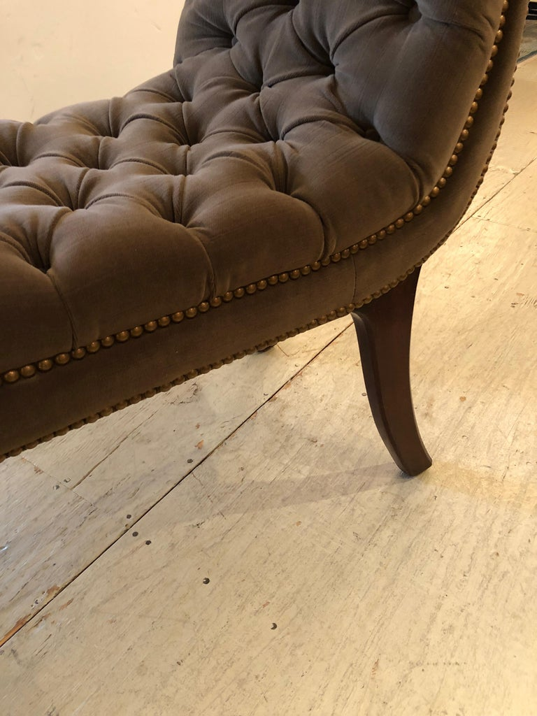 Superb 19th Century English Regency Tufted Velvet Bench For Sale 1