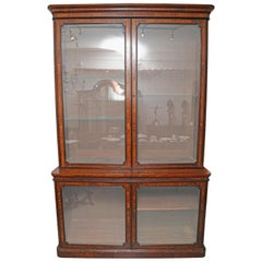 Superb 19th Century English Victorian Large Burr Walnut Library Bookcase