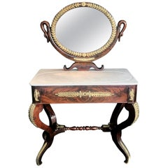 Superb 19th Century French Empire Neoclassical Mahogany Dressing Table Vanity