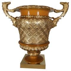 Superb 19th Century Golden Bronze Vase Made in Gild Bronze