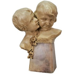 Superb 19th Century Italian Hand Carved Marble Boy and Girl