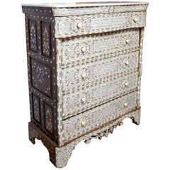 Superb 19th Century Syrian Five-Drawer Mother of Pearl Inlay Dresser