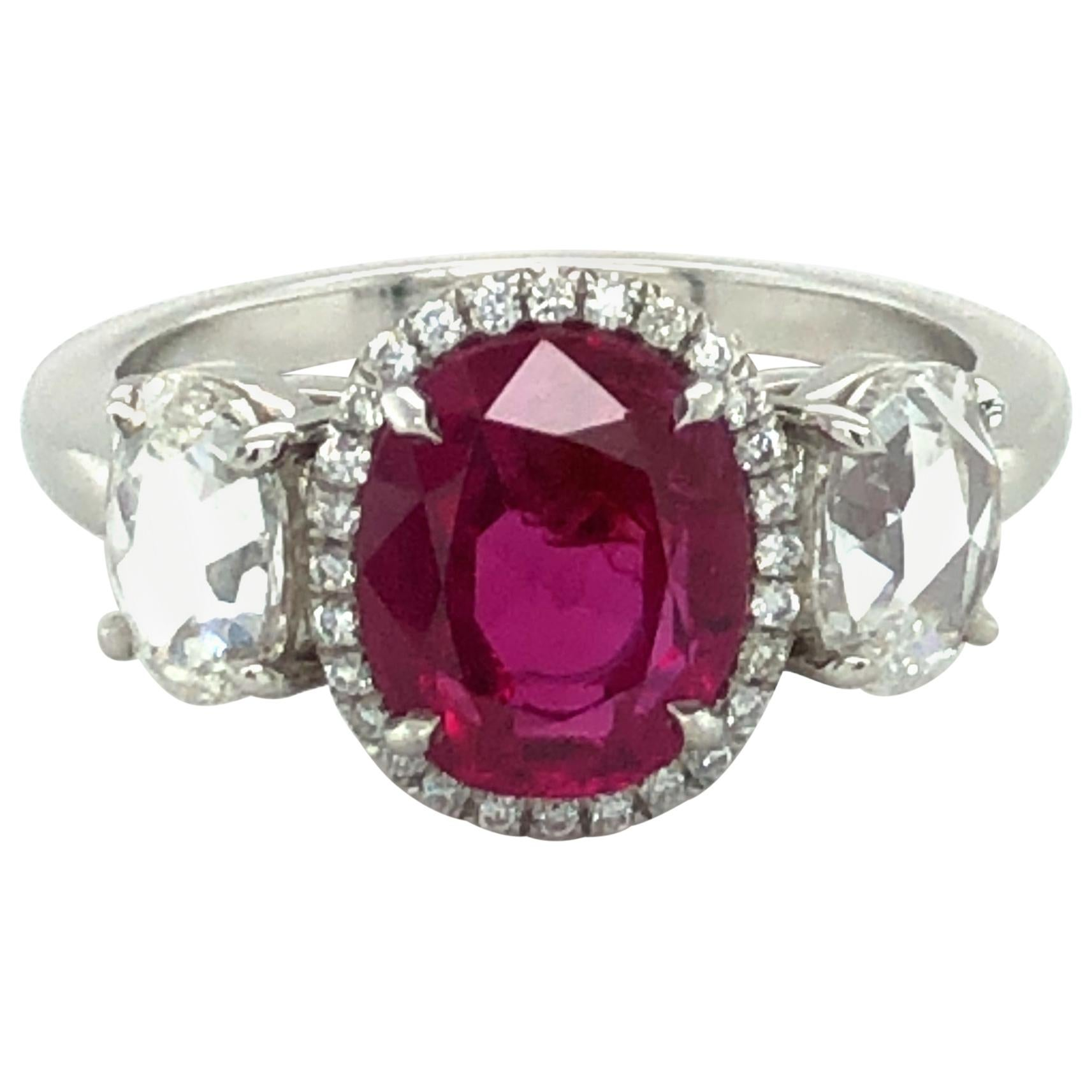 Superb 2.73 Carat Burma Ruby and Diamond Ring in Platinum 950