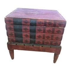 Superb Aged 19th Century Italian Paper Wrapped Trompe l'oeil Book Side Table Box
