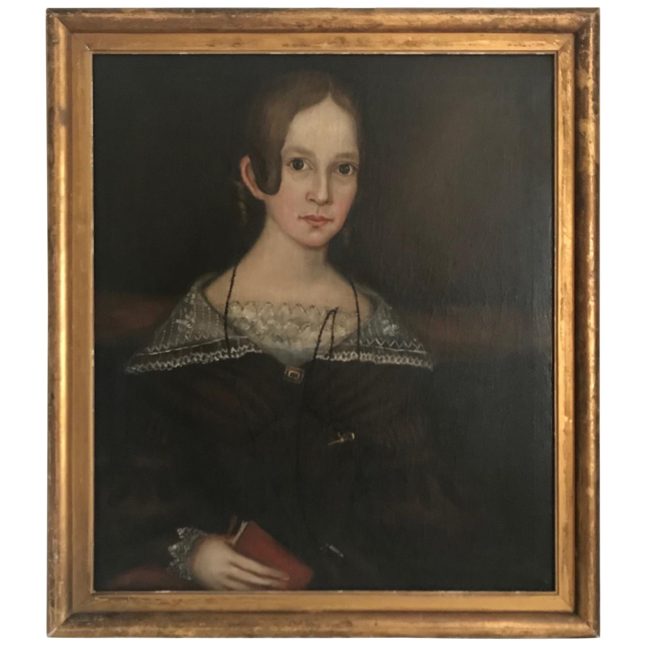 Superb Ammi Phillips American Folk Art Portrait Painting, circa 1840