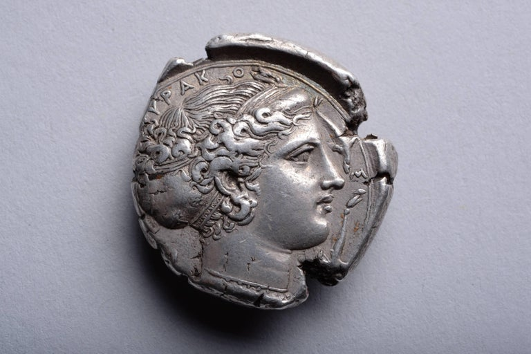 Sicilian Superb Ancient Classical Greek Silver Tetradrachm Coin from Syracuse, 413 BC For Sale