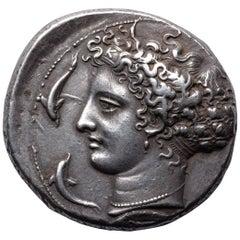 Superb Ancient Greek Silver Kimon Dekadrachm Coin from Syracuse, 405 BC