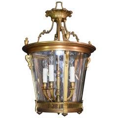 Superb and Elegant Gilt Bronze Lantern with Curved Glass Panels