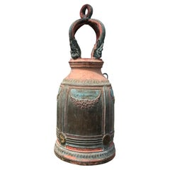 Superb Antique Bronze Bell in Original Paint and Resonating Sound