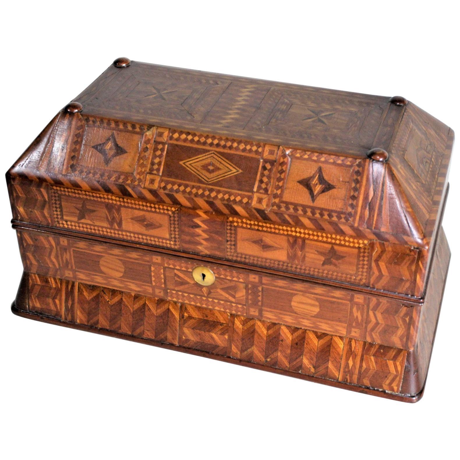 Superb Antique Folk Art Parquetry Casket Styled Writing Box or Lap Desk