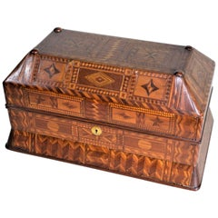 Superb Antique Folk Art Parquetry Casket Styled Writing Box or Lap Desk