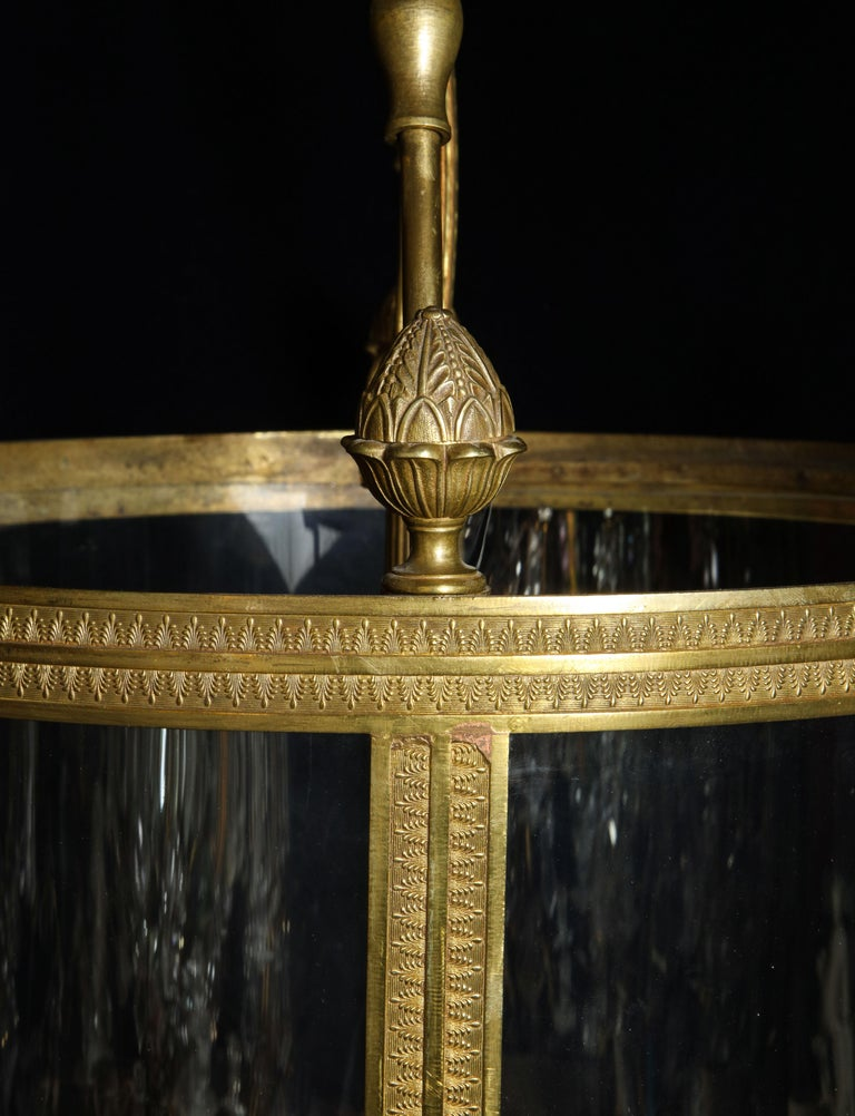 Superb Antique French Louis XVI Style Gilt Bronze and Glass Multi Light Lantern For Sale 10