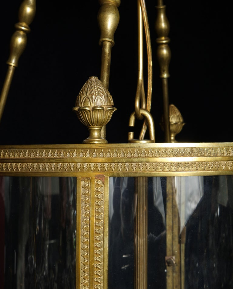 Superb Antique French Louis XVI Style Gilt Bronze and Glass Multi Light Lantern For Sale 11