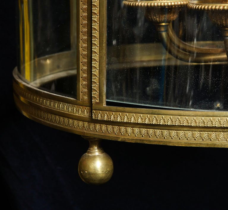Superb Antique French Louis XVI Style Gilt Bronze and Glass Multi Light Lantern For Sale 1