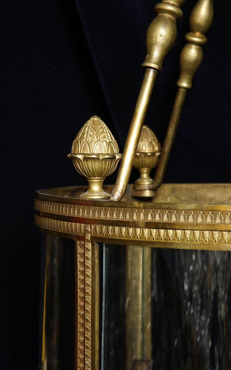 Superb Antique French Louis XVI Style Gilt Bronze and Glass Multi Light Lantern For Sale 2