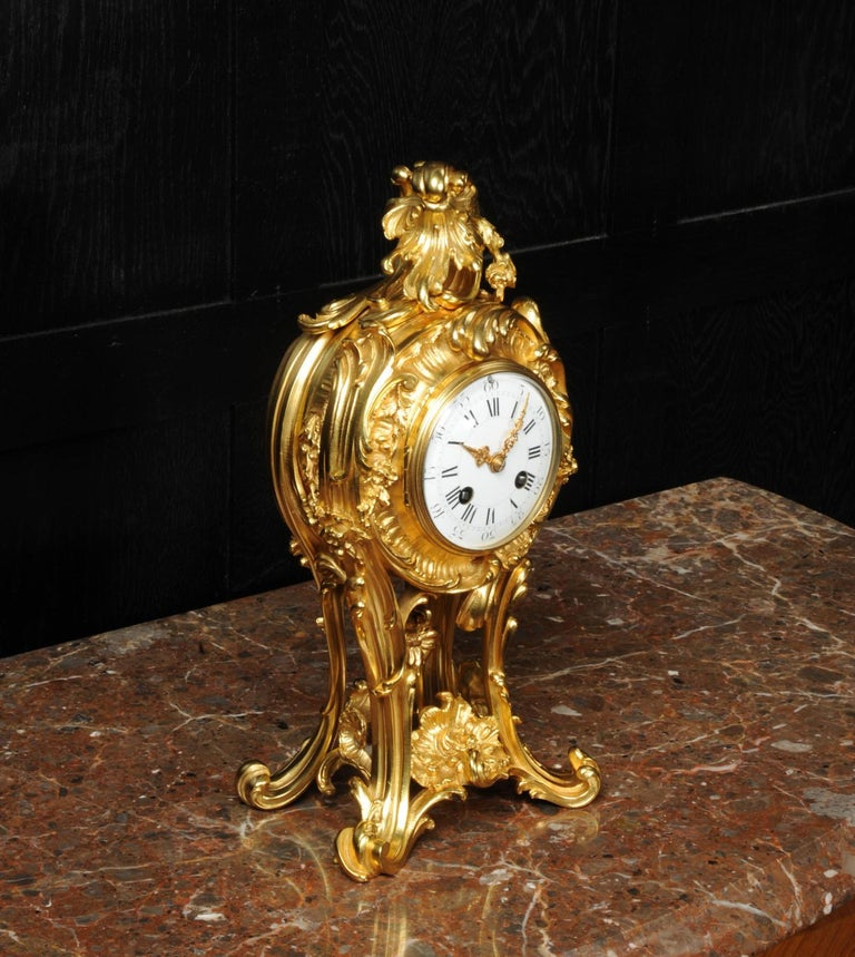 Superb Antique French Rococo Ormolu Clock with Visible Pendulum by Emile Colin For Sale 6