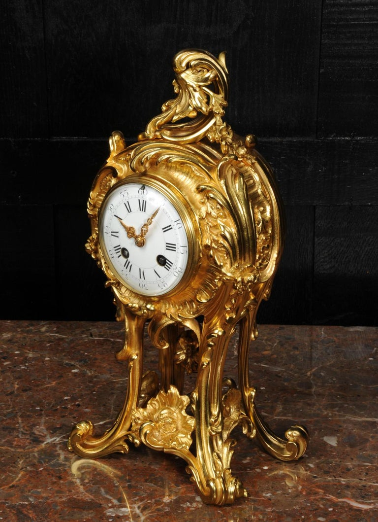 Superb Antique French Rococo Ormolu Clock with Visible Pendulum by Emile Colin For Sale 8