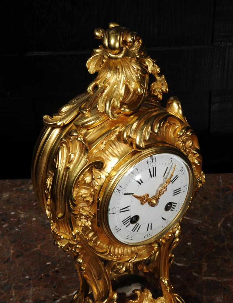 Superb Antique French Rococo Ormolu Clock with Visible Pendulum by Emile Colin For Sale 9