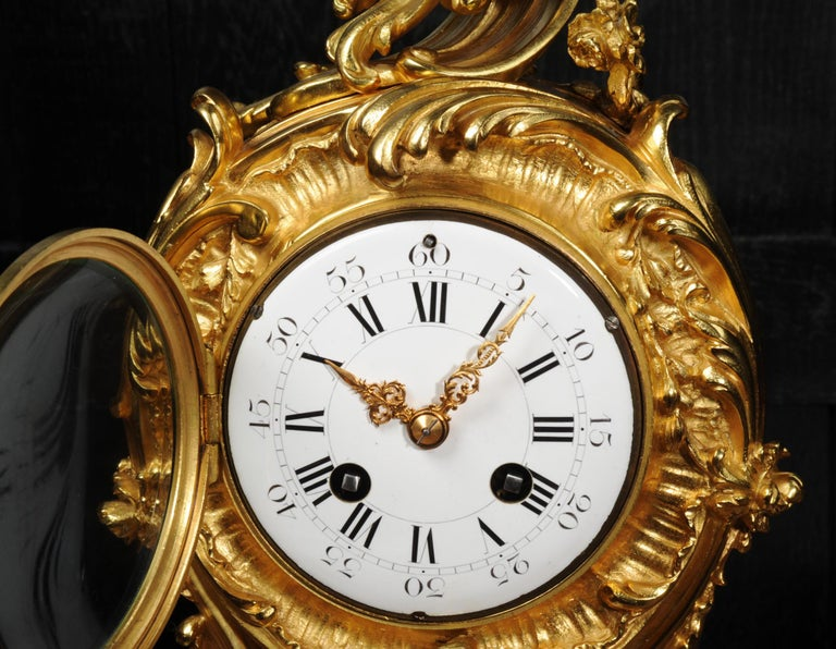 Superb Antique French Rococo Ormolu Clock with Visible Pendulum by Emile Colin For Sale 10