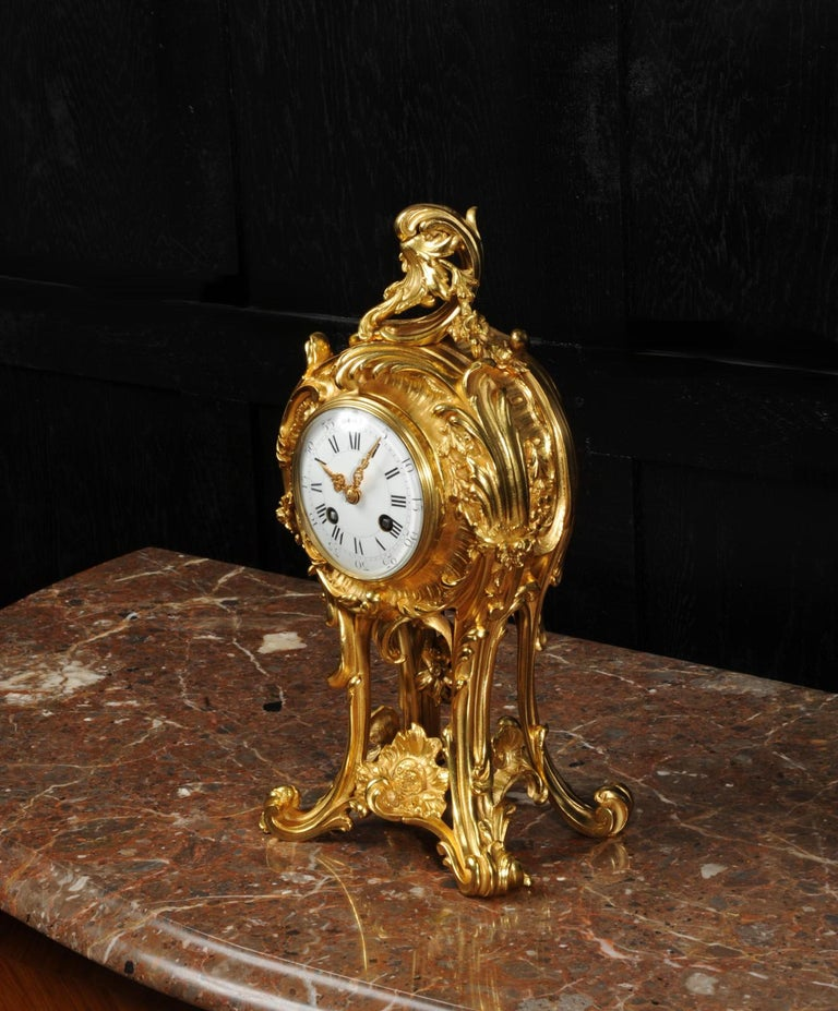 Superb Antique French Rococo Ormolu Clock with Visible Pendulum by Emile Colin For Sale 11