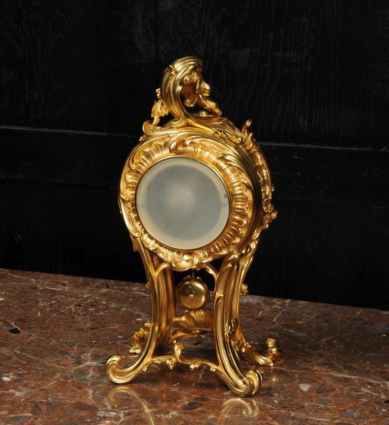 Superb Antique French Rococo Ormolu Clock with Visible Pendulum by Emile Colin For Sale 12