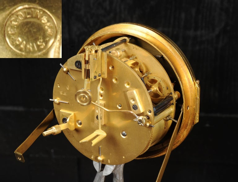 Superb Antique French Rococo Ormolu Clock with Visible Pendulum by Emile Colin For Sale 15