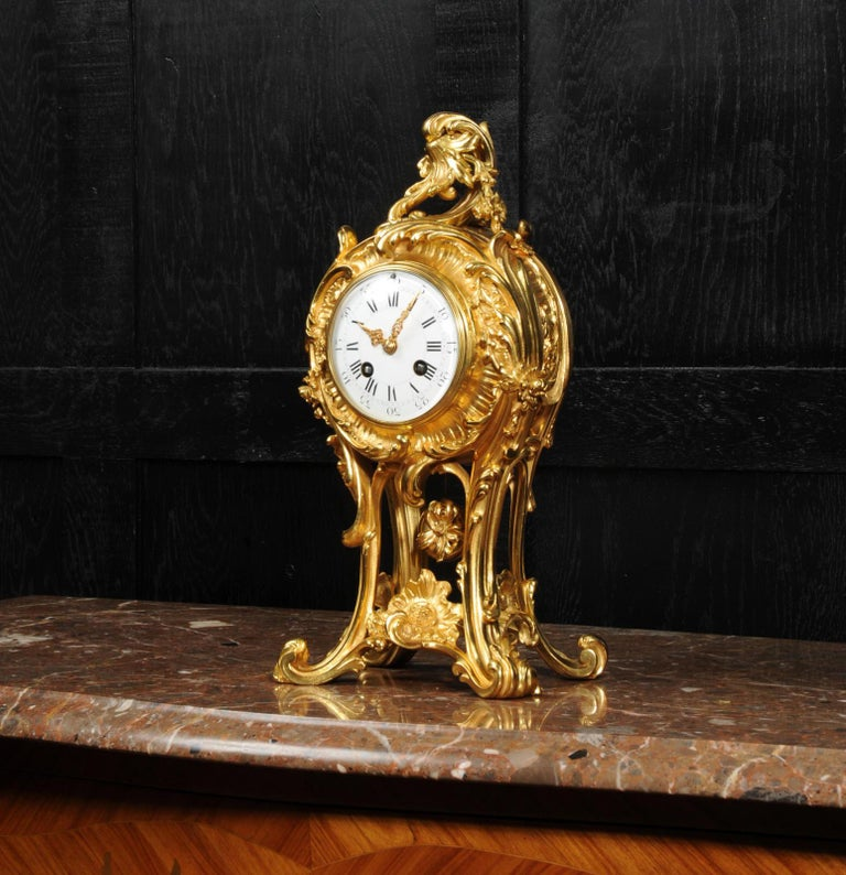 Superb Antique French Rococo Ormolu Clock with Visible Pendulum by Emile Colin In Good Condition For Sale In Belper, Derbyshire