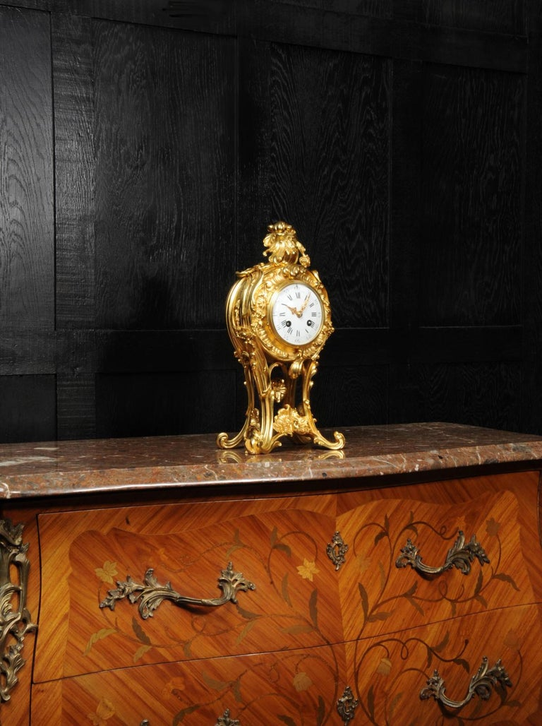 19th Century Superb Antique French Rococo Ormolu Clock with Visible Pendulum by Emile Colin For Sale
