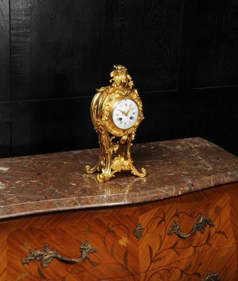 Superb Antique French Rococo Ormolu Clock with Visible Pendulum by Emile Colin For Sale 1
