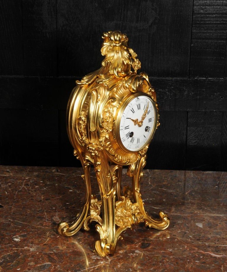 Superb Antique French Rococo Ormolu Clock with Visible Pendulum by Emile Colin For Sale 2