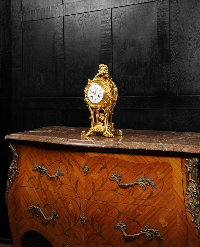 Superb Antique French Rococo Ormolu Clock with Visible Pendulum by Emile Colin For Sale 3