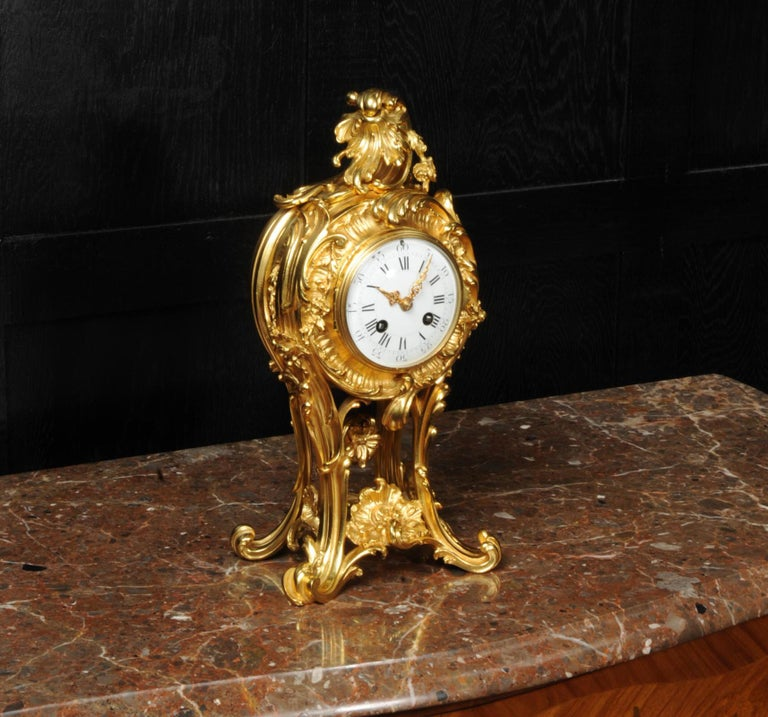 Superb Antique French Rococo Ormolu Clock with Visible Pendulum by Emile Colin For Sale 5