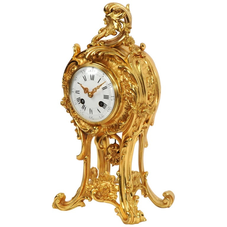 Superb Antique French Rococo Ormolu Clock with Visible Pendulum by Emile Colin For Sale