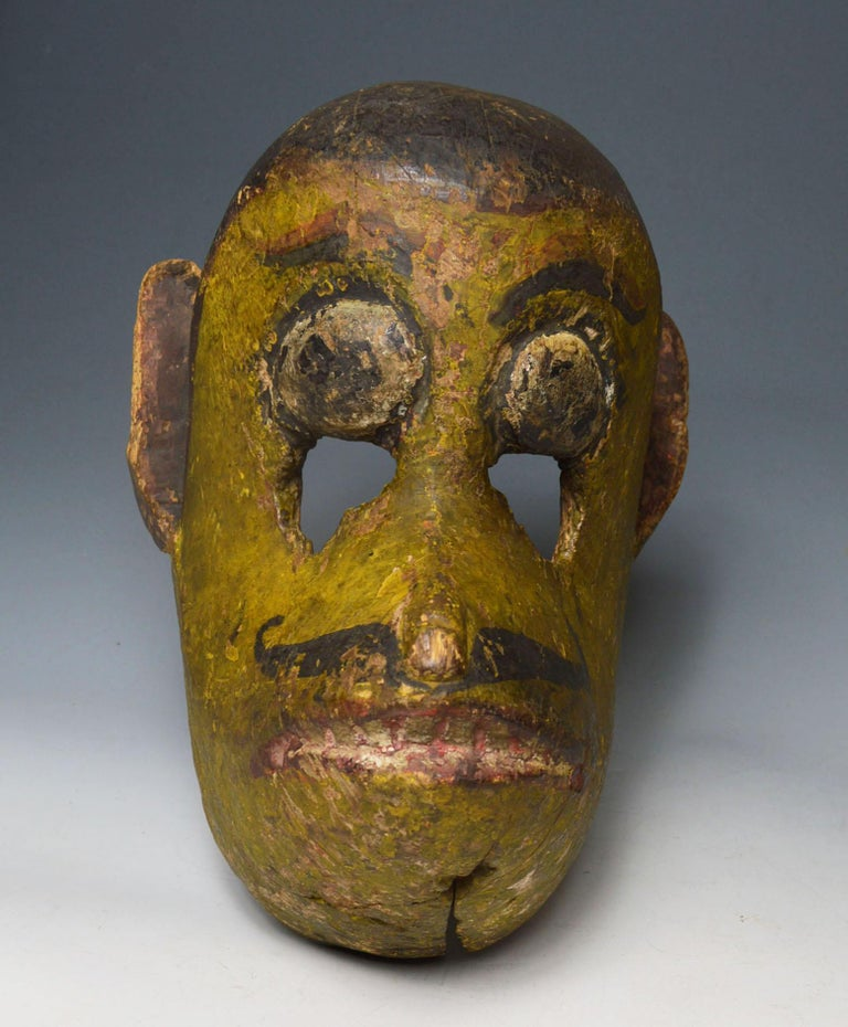 Superb Antique Nepalese Temple Mask of Hanuman the Monkey God In Good Condition For Sale In London, GB