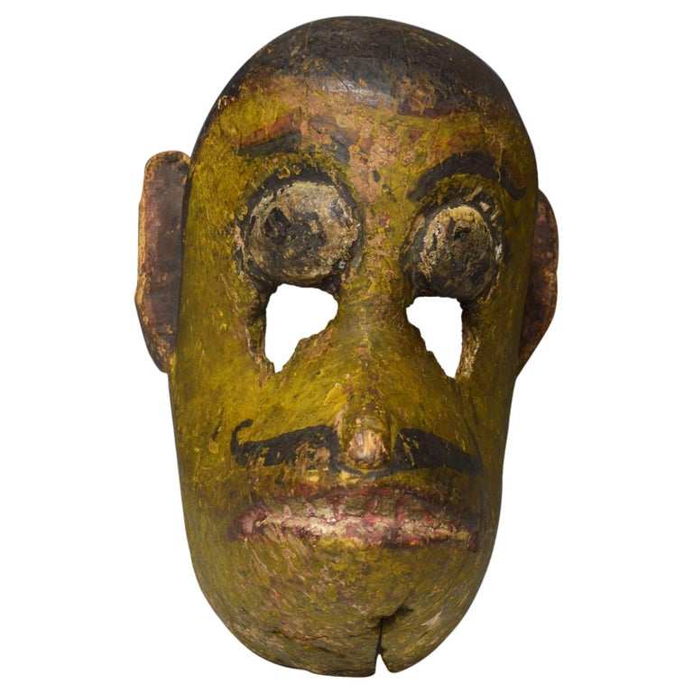 Superb Antique Nepalese Temple Mask of Hanuman the Monkey God For Sale