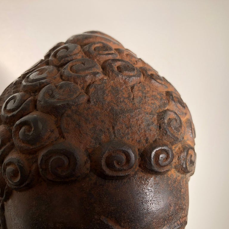 Superb Antique Peaceful Buddha Head, 18th Century with Custom Stand For Sale 3