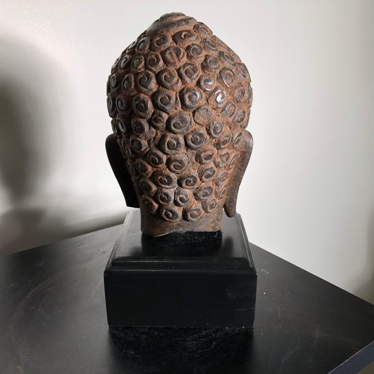Superb Antique Peaceful Buddha Head, 18th Century with Custom Stand For Sale 4