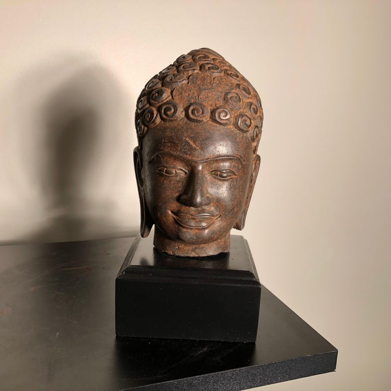 Thai Superb Antique Peaceful Buddha Head, 18th Century with Custom Stand For Sale
