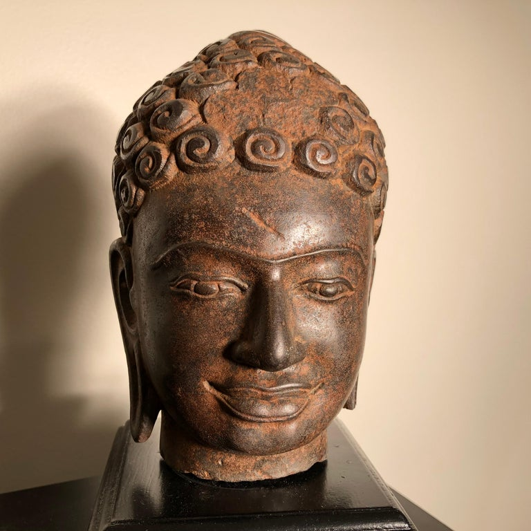 Hand-Carved Superb Antique Peaceful Buddha Head, 18th Century with Custom Stand For Sale