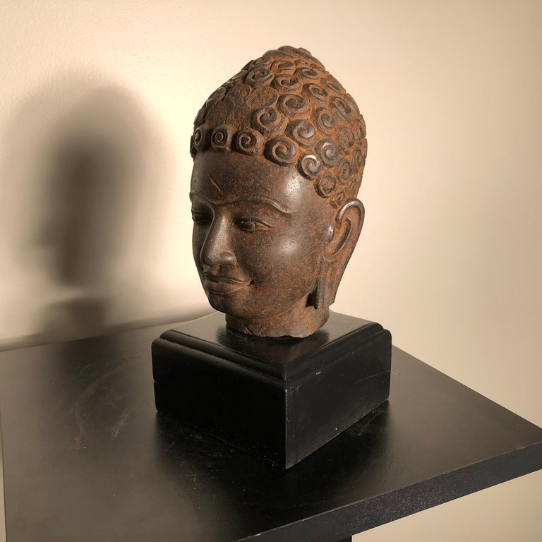 Stone Superb Antique Peaceful Buddha Head, 18th Century with Custom Stand For Sale